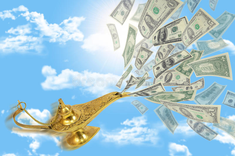 Money fly out of Aladdin's magic lamp. Business concept royalty free illustration