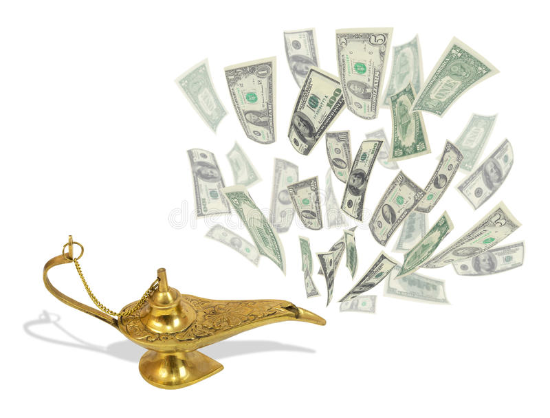 Money fly out of Aladdin's magic lamp. Business concept vector illustration