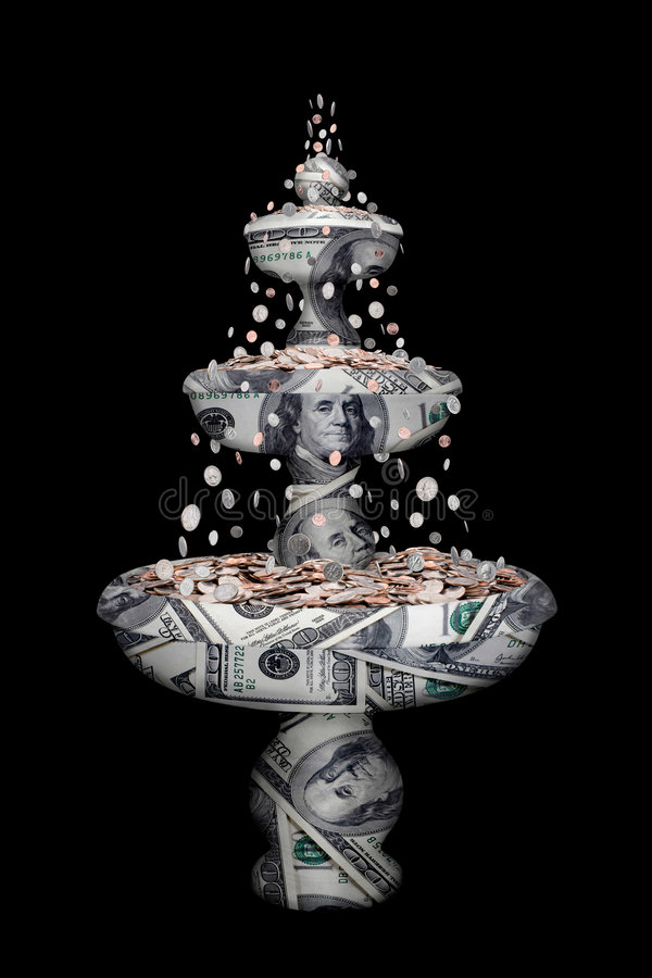 Money fountain stock photography