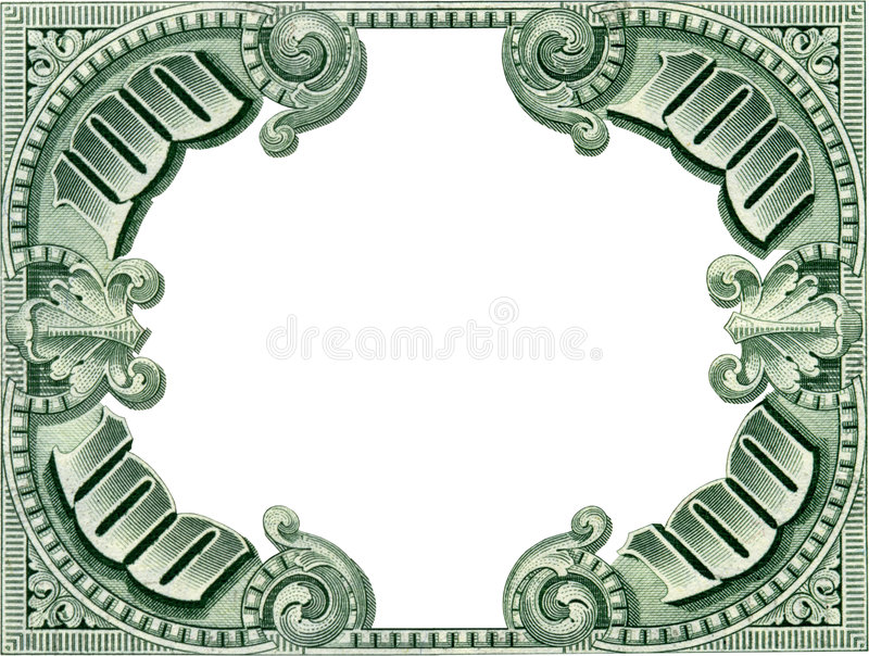 Money Frame. One hundred dollar empty frame isolated on white