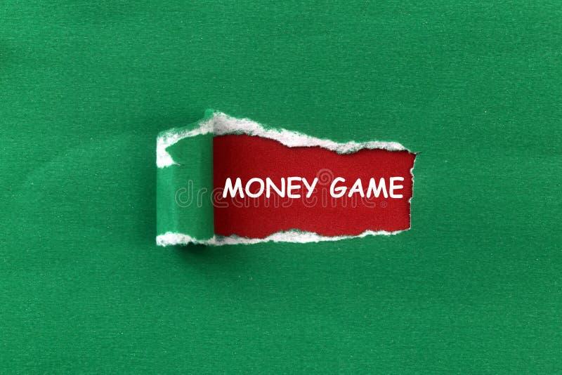 Money game heading. Under torn green paper stock illustration