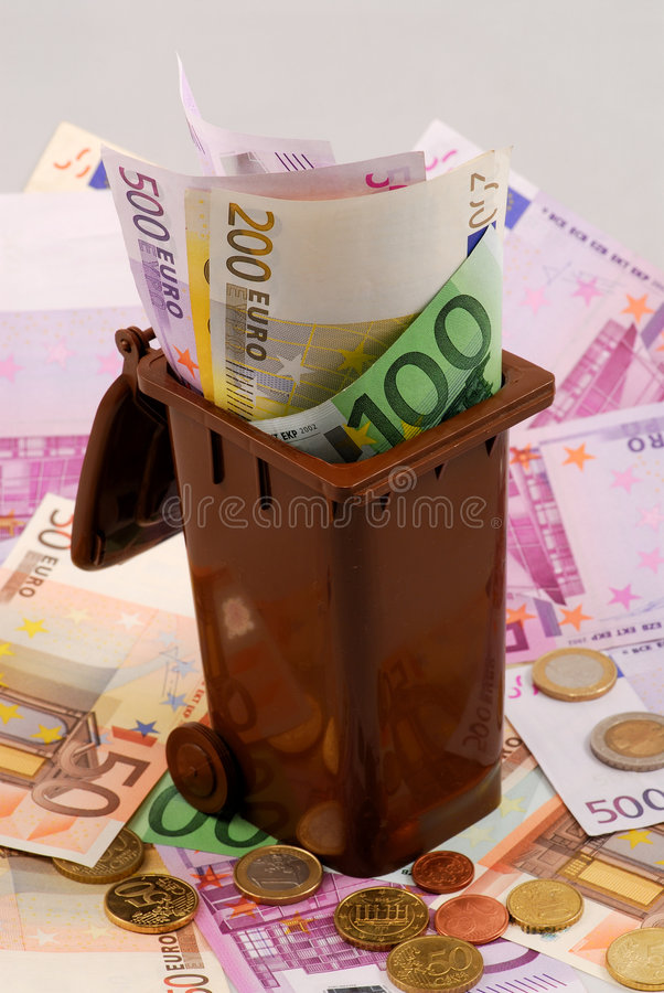 Download Money in the garbage bin stock image. Image of european - 4517753