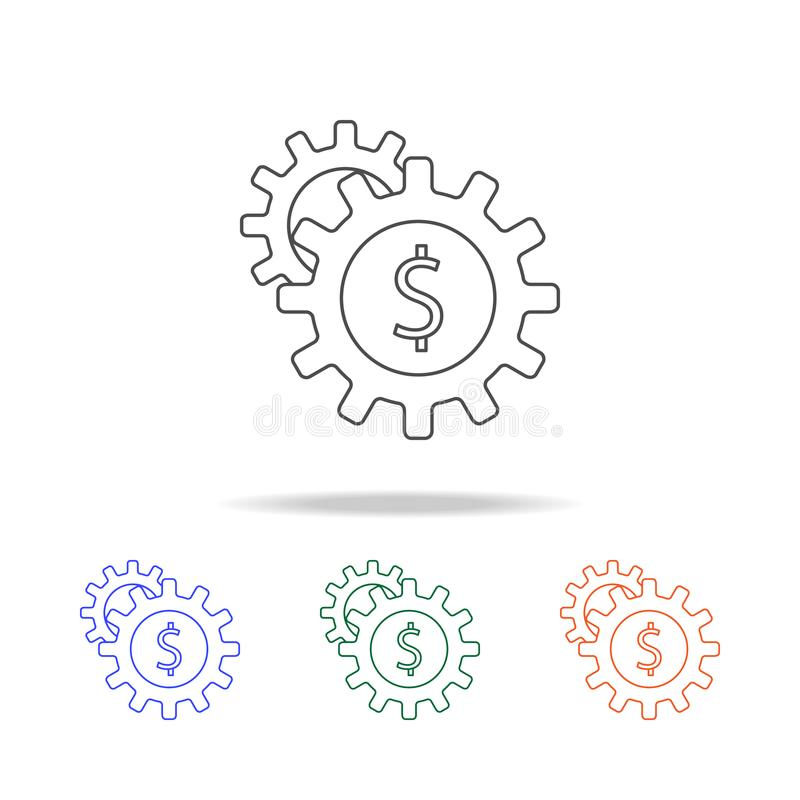money in gear icon. Elements of banking in multi colored icons. Premium quality graphic design icon. Simple icon for websites, web stock illustration