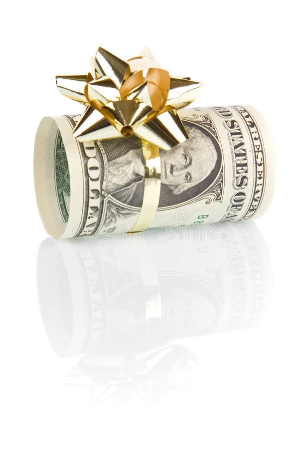 Money gift of 1 dollar royalty free stock image