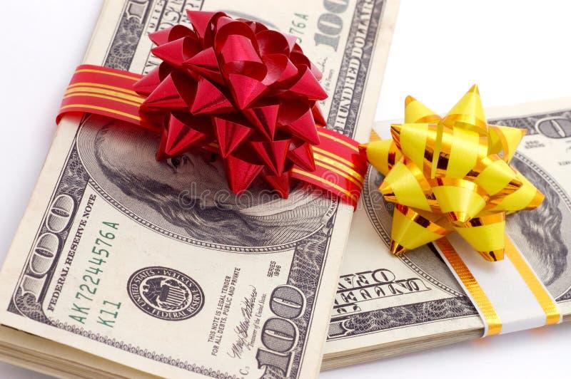 Money on gift stock photo