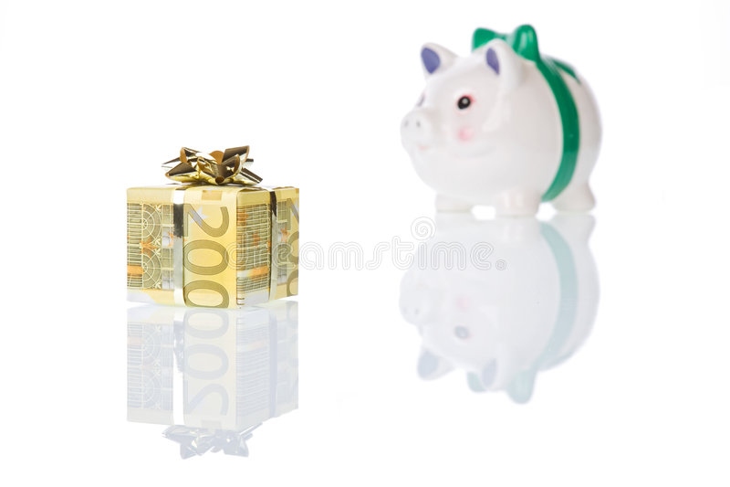 Money gift box of 200 euro with piggy bank royalty free stock photo