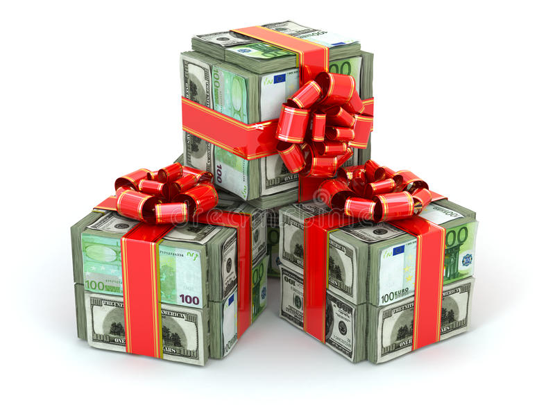 Money gift. Packs of dollars and euro and red ribbon. vector illustration