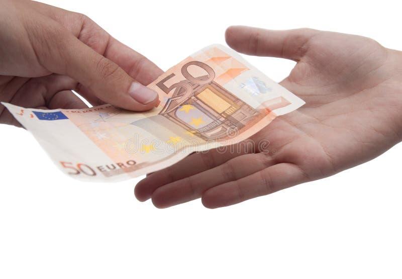 Money giving stock photo