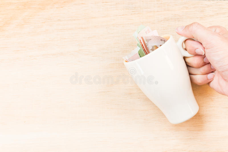 Money in glass. ( Concept : Price of a drink stock photos