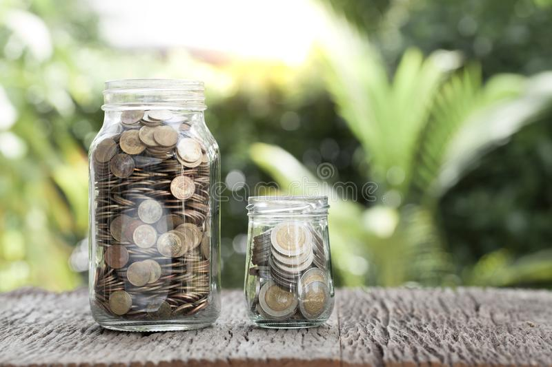 Money in the glass, Save money for investment concept.  stock photo