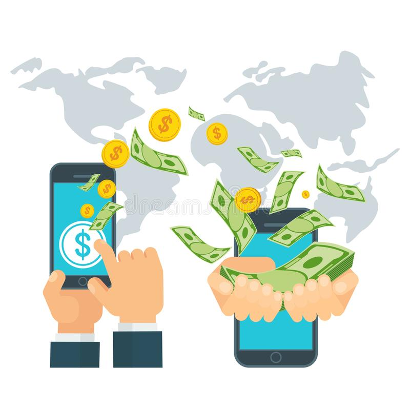 Money global transfer concept. Money transfer using mobile device, smart phone with banking payment app. Internet banking, contactless payment, financial royalty free illustration