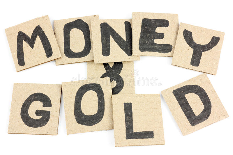 Money and gold. Cardboard card for collage and presentations and design work royalty free stock photos