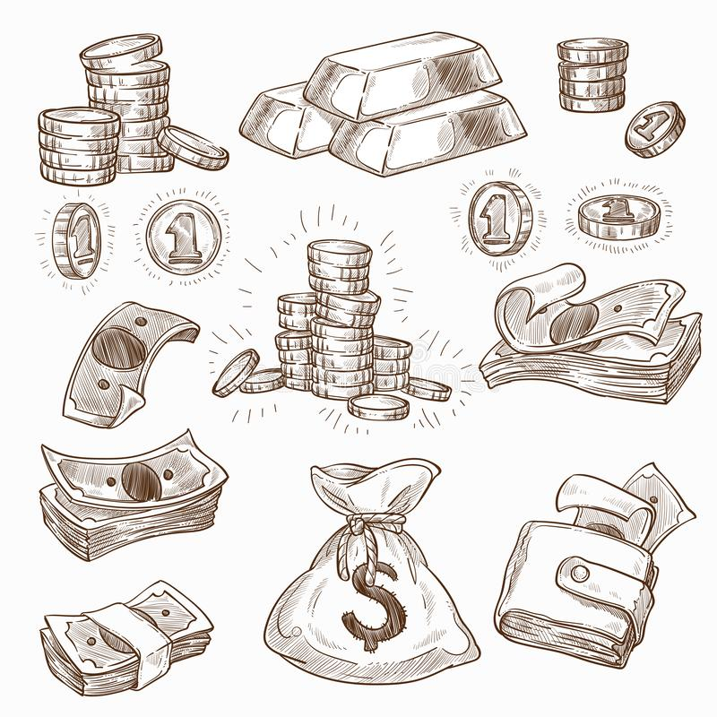 Money and gold coins and banknotes wallet or bag stock illustration
