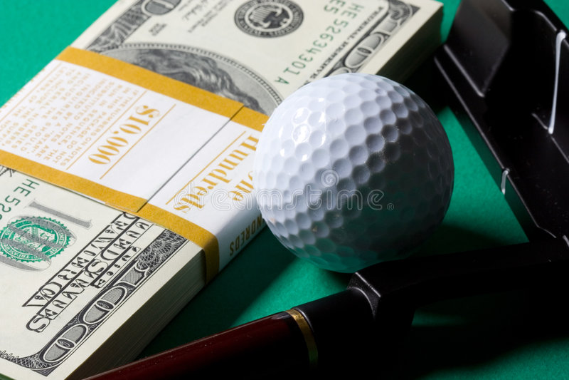 Money golf club and ball stock photo