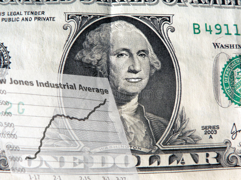 Money - good economy. Dollar bill depicting economic situation stock images