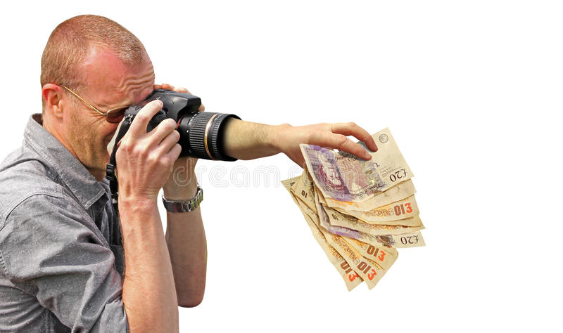 Money grabbing camera hand royalty free stock photos