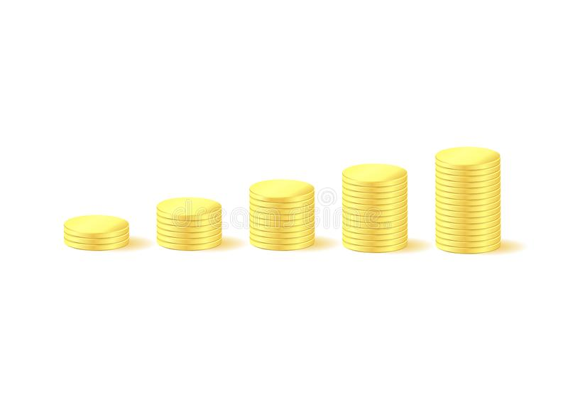 Money graph coins stock illustration