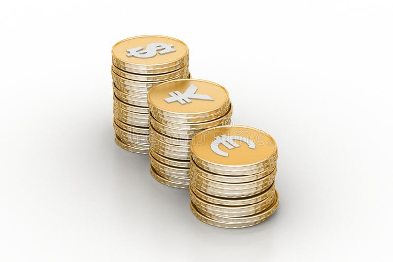 Money graph. In white background stock illustration