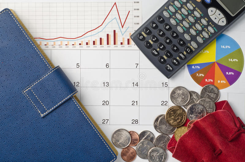 Money and graphs. For finance concept stock photo