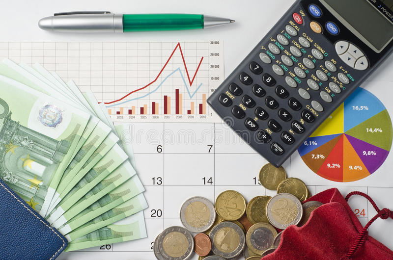 Money. And graphs for finance concept stock image