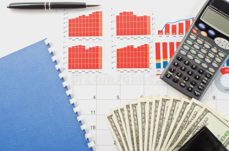 Money and graphs. For finance concept royalty free stock images
