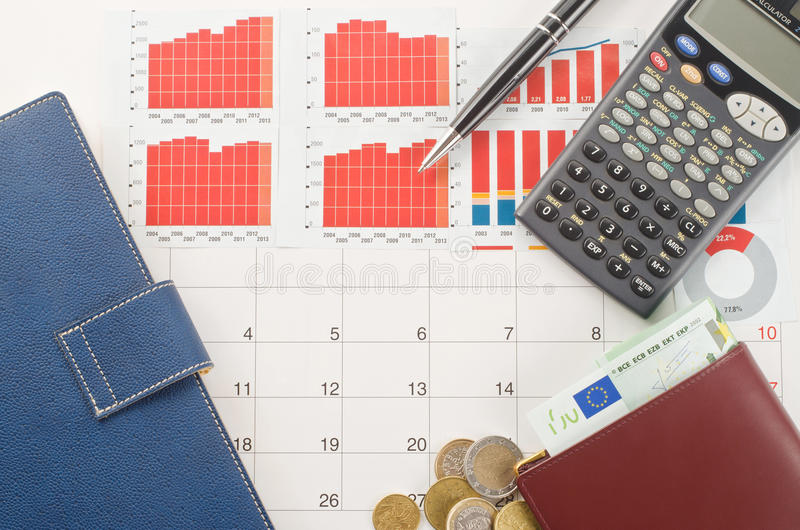 Money and graphs. For finance concept royalty free stock photography