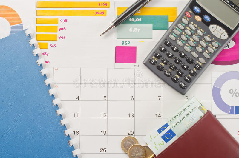 Money and graphs. For finance concept stock photography