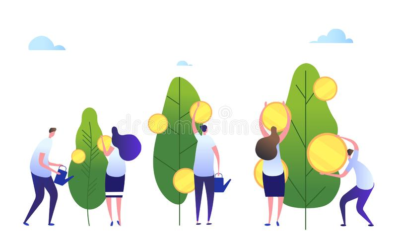 Money growth concept. Cartoon people cultivate company. Cash profit, investment growing wealth business concept stock illustration