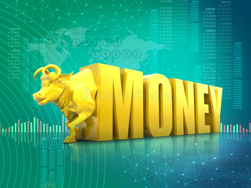 Money growth, stock market, finance, economy, business success, , profit increase, concept, golden bull with money, 3D rendering a royalty free illustration