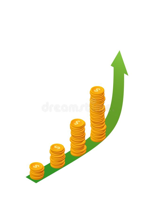 Money growth vector concept. Isometric stacks of coins on green arrow up.Isolated golden dollar chips vector illustration