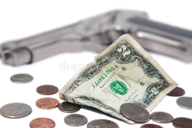 Download Money and a gun stock photo. Image of crumpled, dollars - 25757314