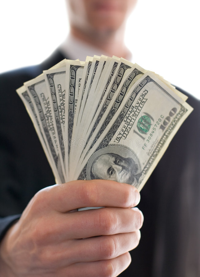 Money in hand. S of businessman royalty free stock photos