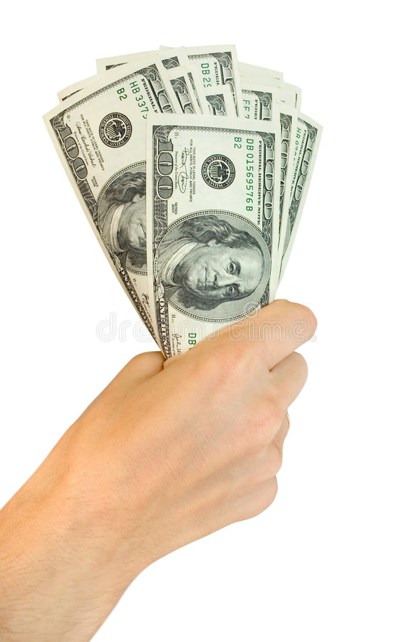 Money with hand royalty free stock photo