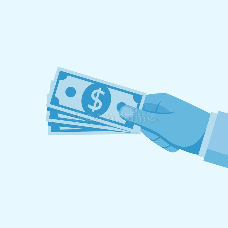 Money in hand set vector royalty free illustration