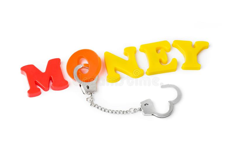 Money and handcuffs royalty free stock images