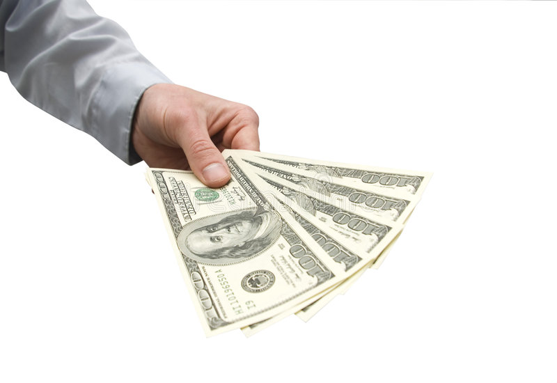 Money in hands royalty free stock image