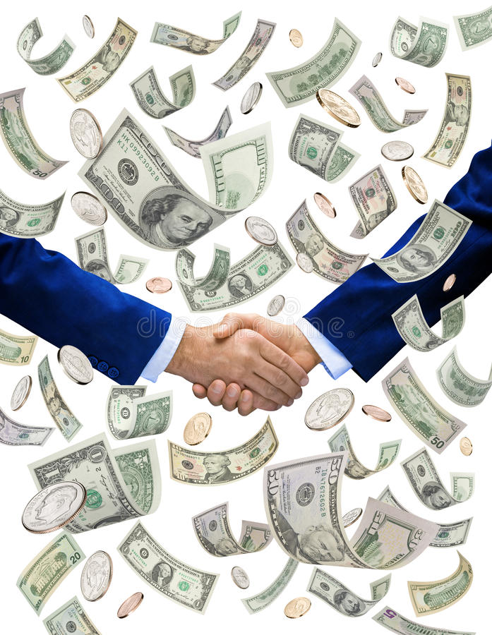 Money Handshake Deal Investors. Two businessmen shaking hands with American money raining down still receiving their bonus royalty free stock photos