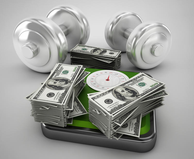 Money for health and fitness vector illustration