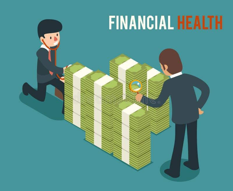 Money health isometric 3d vector illustration. Bank money health, cash money health, saving and checking money health finance money health stock illustration
