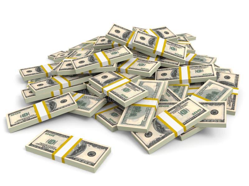 Money heap. One hundred dollars. Money heap on white background. One hundred dollars. 3D illustration royalty free illustration