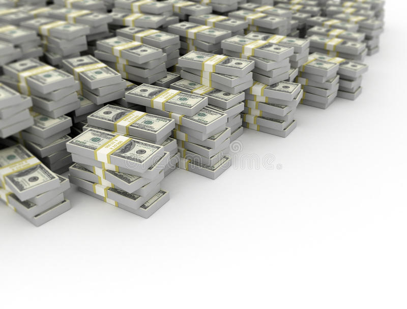 Money heap on white background. royalty free illustration