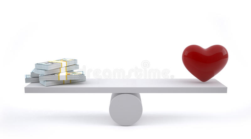 Money and heart on a balance scale. Money and love balance on scale. Weights with love and money royalty free illustration