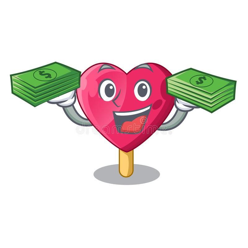 With money heart shaped ice cream the cartoon royalty free illustration