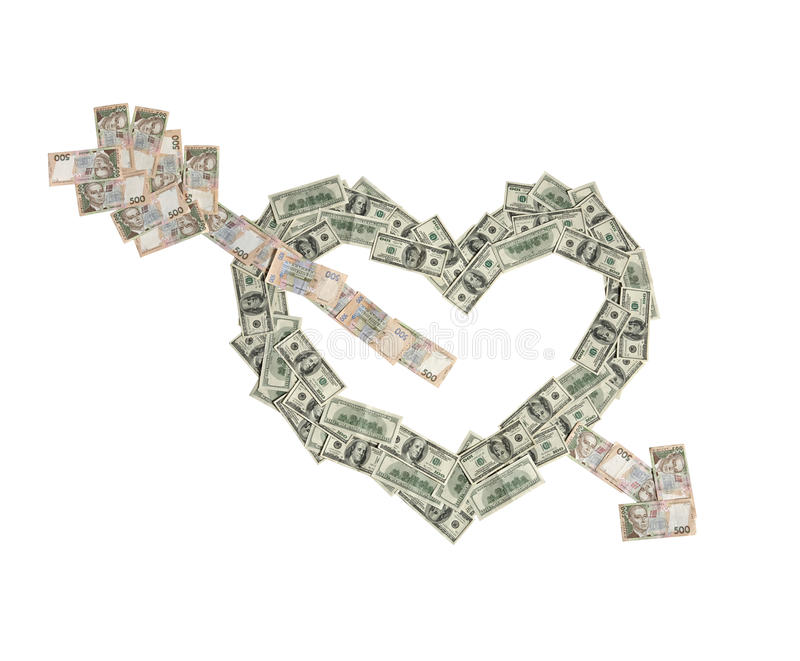 Money heart was broken by arrow of love royalty free stock photography