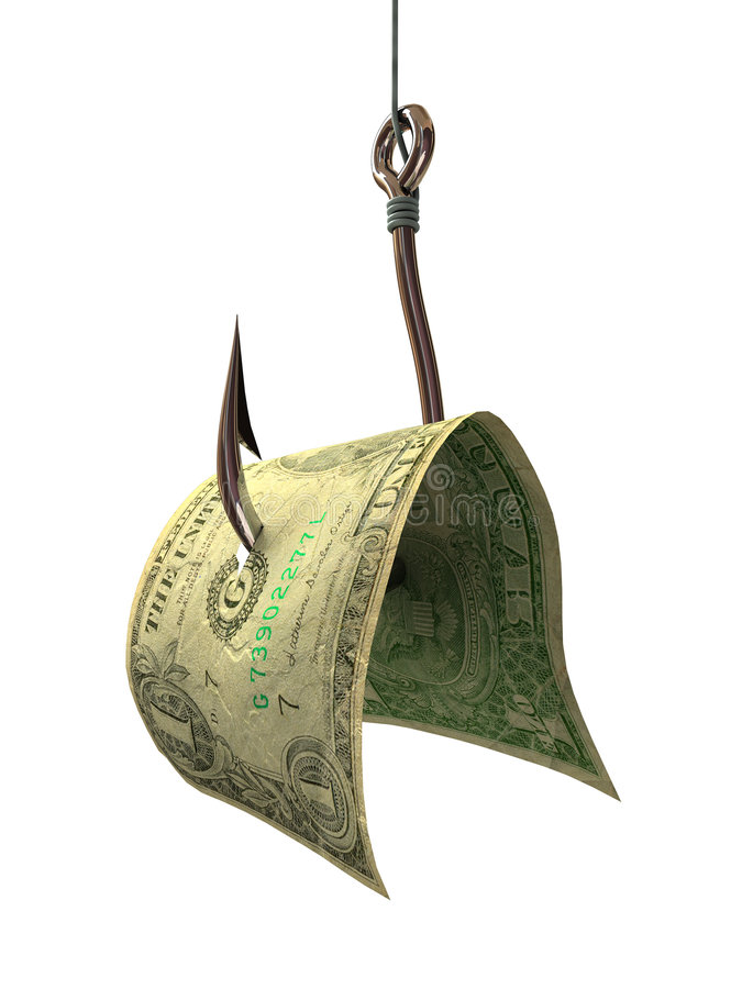 Money on a Hook - Concepts and Symbols royalty free stock photography