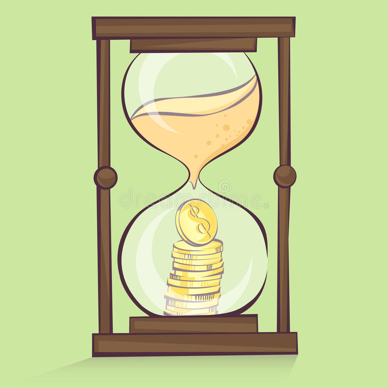 Money in hourglass, coins stacks inside of sand clock, cartoon style, vector illustration.  stock illustration