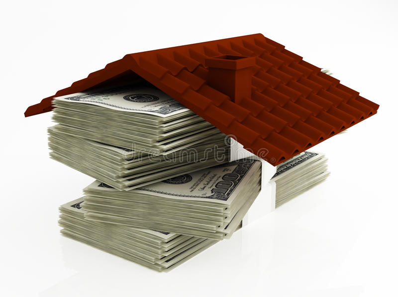 Money for house. House roof on top of stack of money