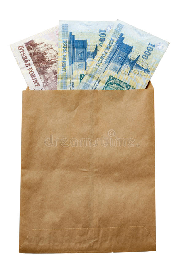 Money of Hungary in paper envelop royalty free stock image