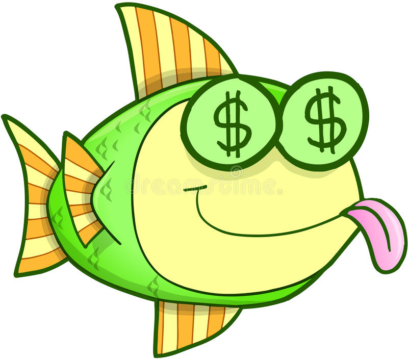 Money hungry fish vector stock illustration illustration for Fish for cash
