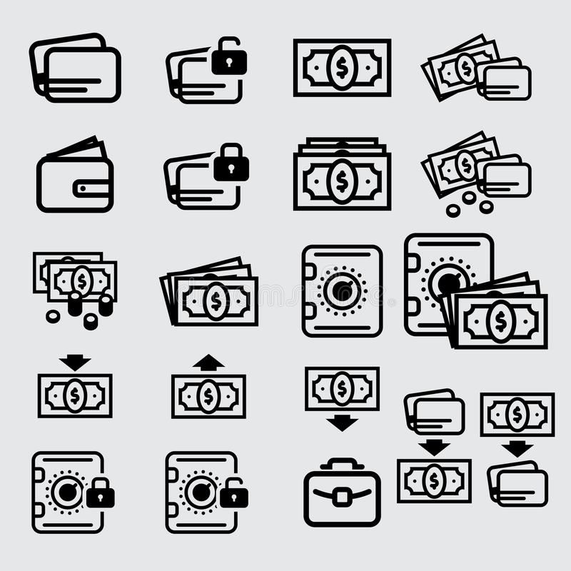 Money icon, cash and credit card stock photography